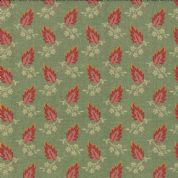 Moda Jelly Bean by Laundry Basket Quilts - 3245 - Pink Leaf Print on Green  42152 15 - Cotton Fabric